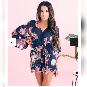 Vici Floral Pocketed Kimono Romper, Worn Once